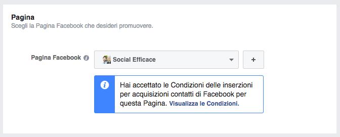lead ads - scelta pagina facebook
