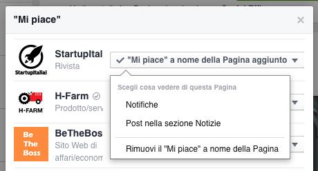 gestione mi piace della pagina - trovare contenuti pagina fb