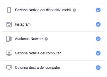glossario facebook ads - posizionamenti