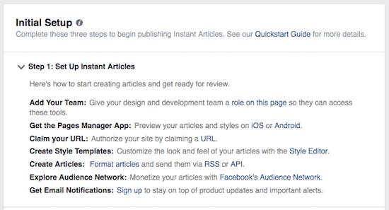 instant articles 02 - setup iniziale