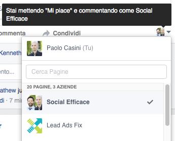 postare e commentare a nome della pagina - trovare contenuti pagina fb