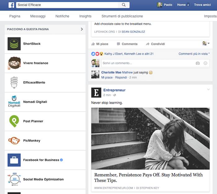 sezione notizie della pagina - trovare contenuti pagina fb