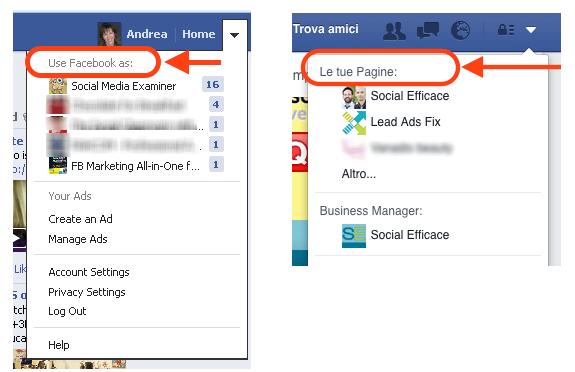 usa facebook come pagina - trovare contenuti pagina fb