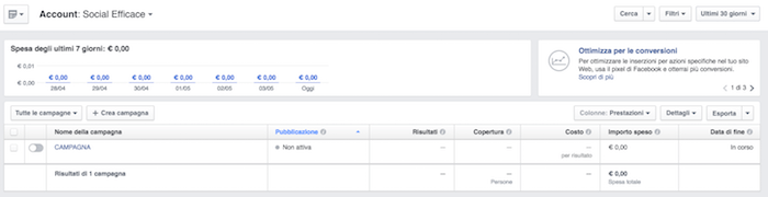 power editor - gestione inserzioni con campagna creata da power editor
