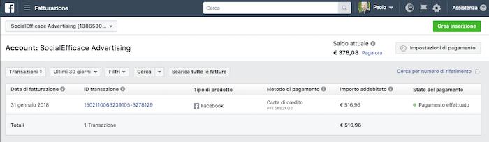 scaricare costo fattura facebook ads - schermata fatture