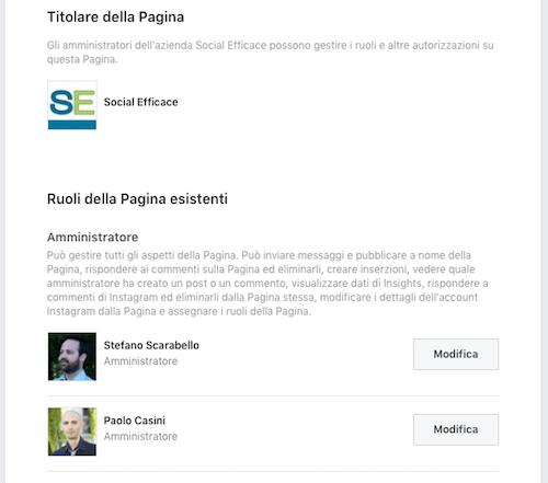 aggiungere amministratore pagina fb - esempio ruoli