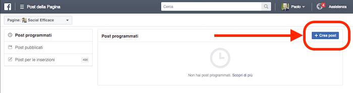 gestione inserzioni post della pagina crea nuovo