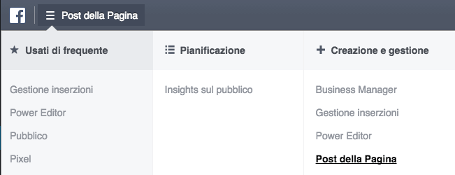 gestione inserzioni post della pagina