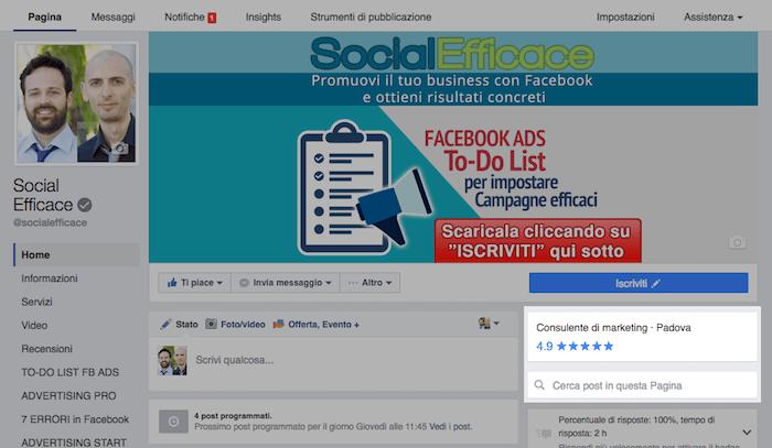 nuova grafica pagina fb - categoria recensioni ricerca