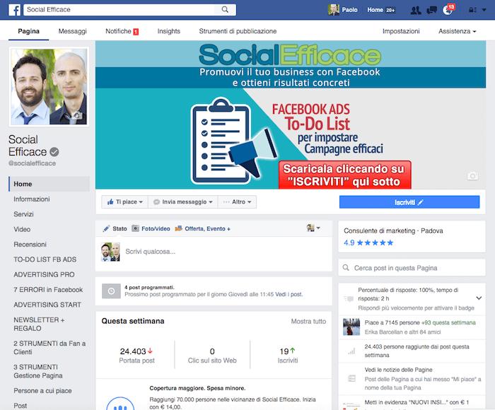 nuova grafica pagina fb - esempio