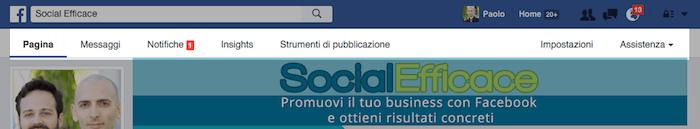 nuova grafica pagina fb - menu amministrazione