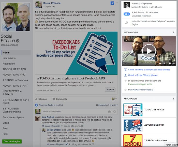nuova grafica pagina fb - menu destra sezioni