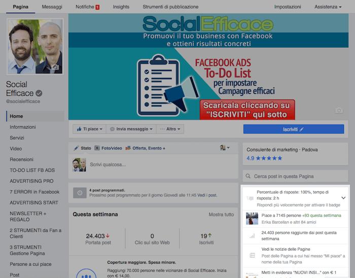 nuova grafica pagina fb - menu di destra statistiche