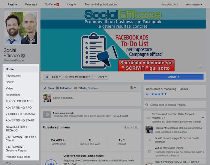 nuova grafica pagina fb - menu di sinistra app