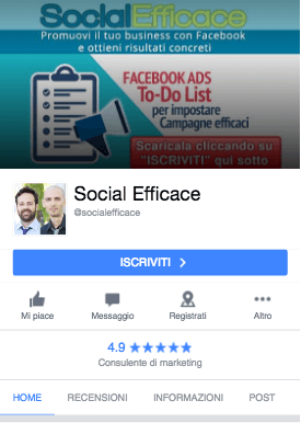 nuova grafica pagina fb - versione mobile