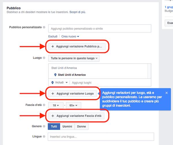 fb ads aggiungi varianti pubblico target gruppi di inserzioni