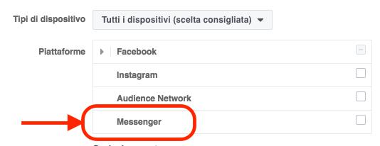 fb ads posizionamento messenger