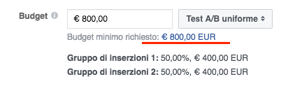 fb ads split test a b conversioni - budget minimo 800 euro