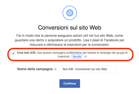 fb ads split test a b conversioni - inizio
