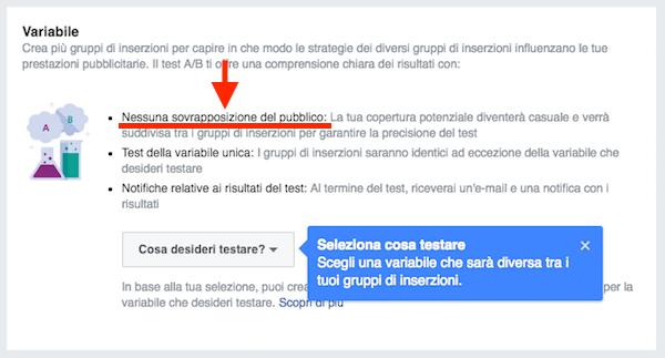fb ads split test a b conversioni - sovrapposizione