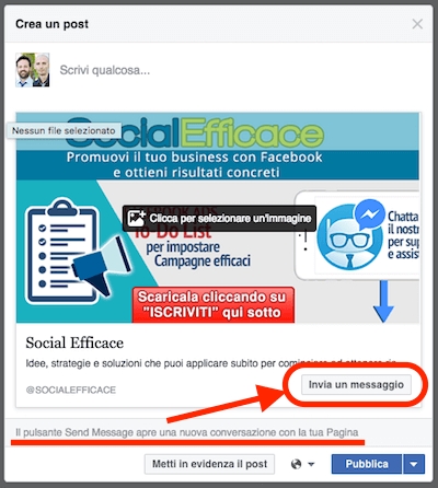 pagina fb novita 2016 - post con call to action