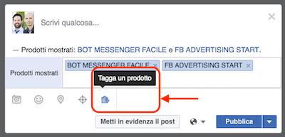 pagina fb novita 2016 - tag prodotto