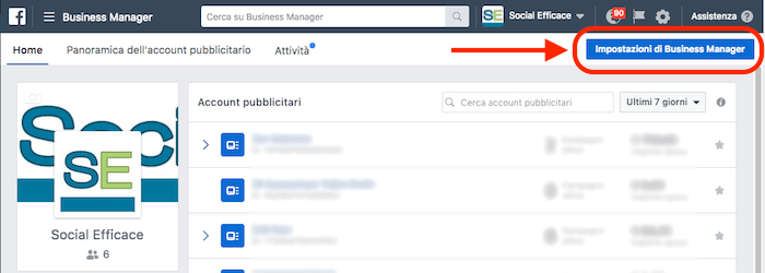 rimuovere eliminare business manager - home page