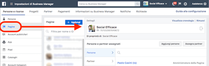 rimuovere eliminare business manager - menu pagine facebook
