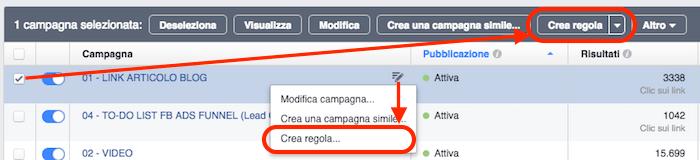 regole automatizzate facebook ads - crea regola