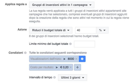 regole automatizzate facebook ads - esempio regola dimunuzione budget