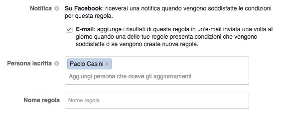 regole automatizzate facebook ads - notifiche