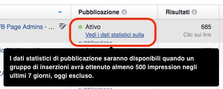 dati statistici sulla pubblicazione - link accesso