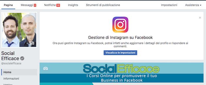 gestire instagram nella pagina facebook - invito avviso