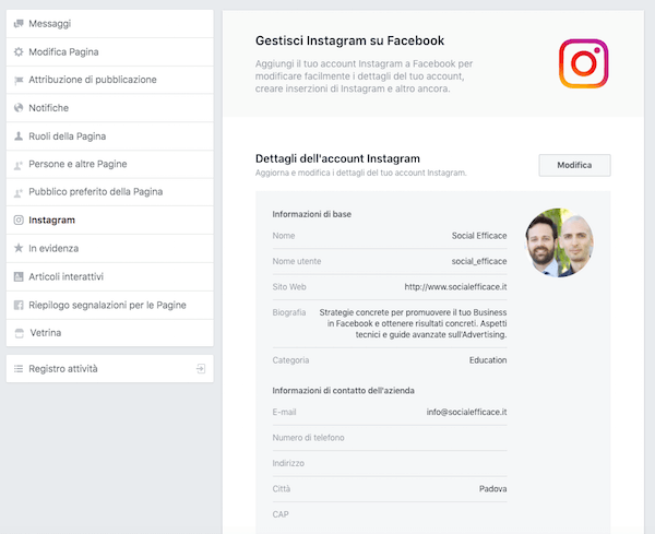 gestire instagram nella pagina facebook - modifica dettagli e info