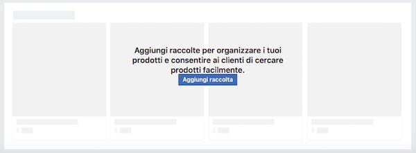 vetrina pagina facebook - aggiungi raccolta prodotti