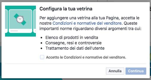 vetrina pagina facebook - configura step 1