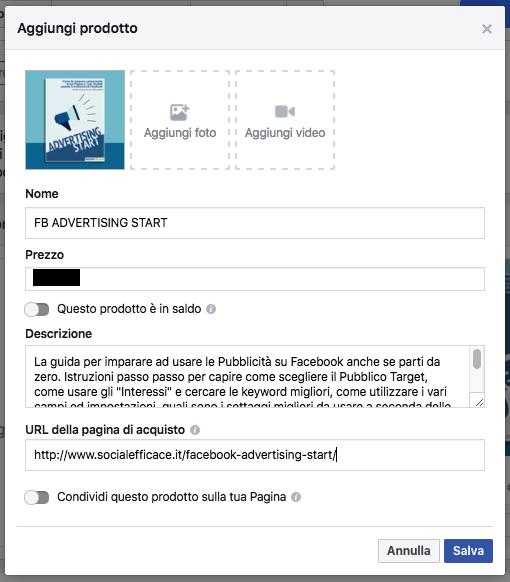 vetrina pagina facebook - crea prodotto