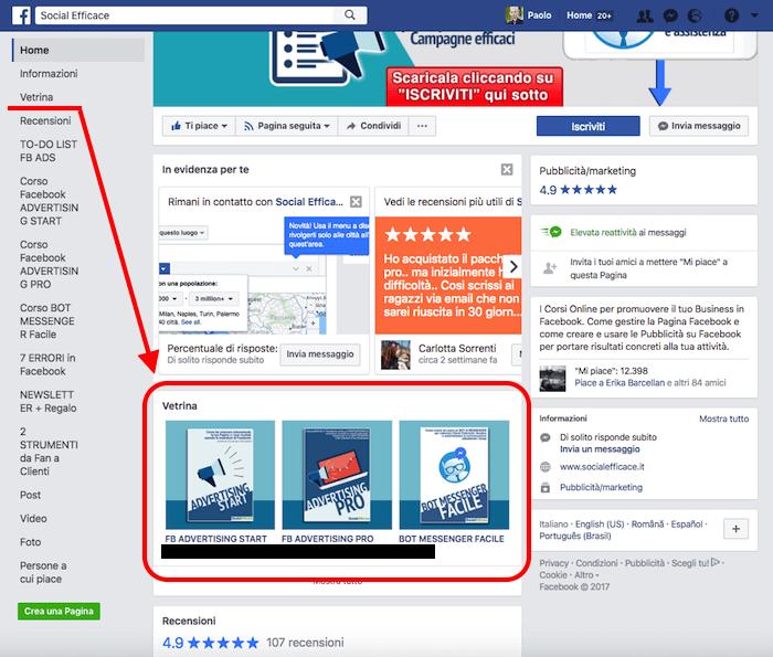 vetrina pagina facebook - esempio pagina con vetrina in alto