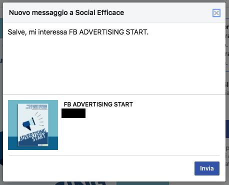 vetrina pagina facebook - messaggio per acquistare