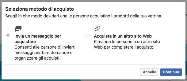 vetrina pagina facebook - metodo di acquisto