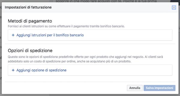 vetrina pagina facebook - metodo pagamento opzioni spedizione