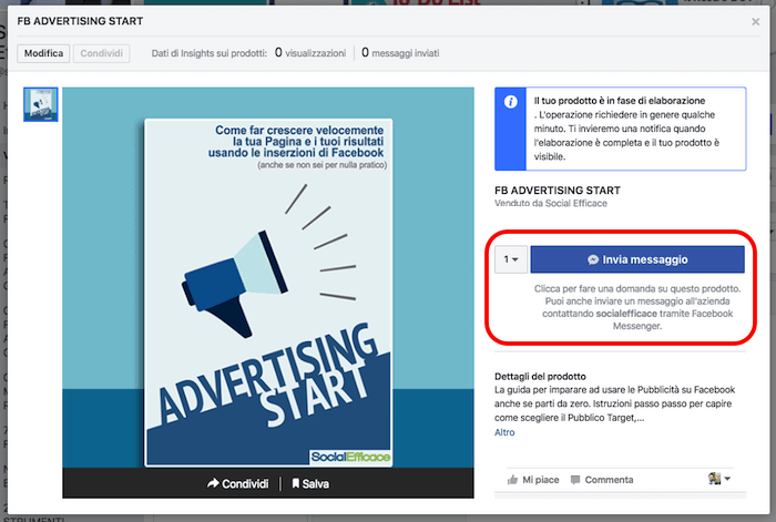 vetrina pagina facebook - prodotto con invia messaggio