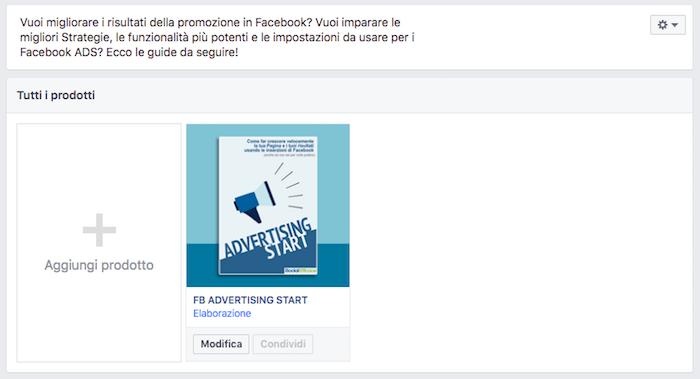 vetrina pagina facebook - prodotto creato