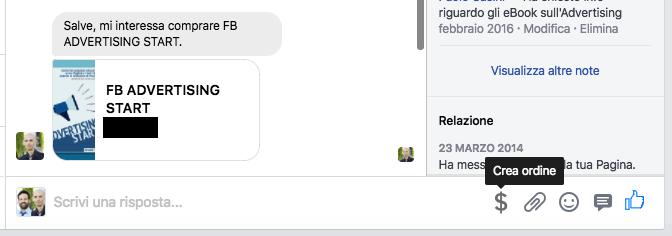vetrina pagina facebook - pulsante dollaro per richiedere pagamenti