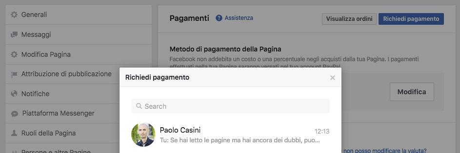 vetrina pagina facebook - richiesta pagamento