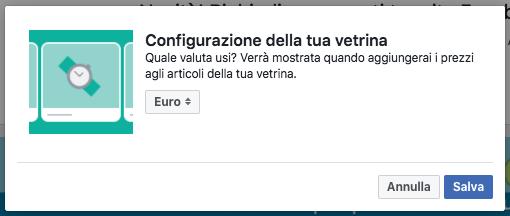 vetrina pagina facebook - selezione valuta