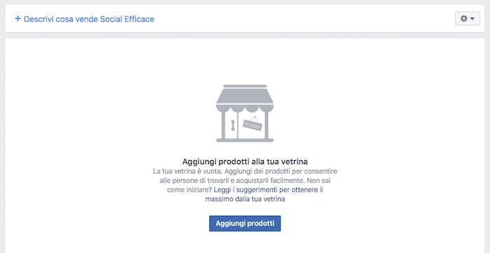 vetrina pagina facebook - vetrina vuota