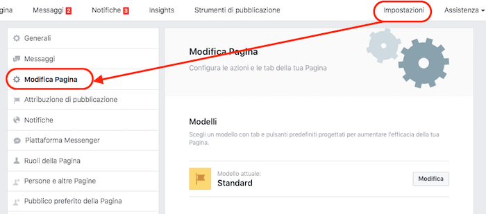 collegare gurppo pagina - attivare tab gruppi