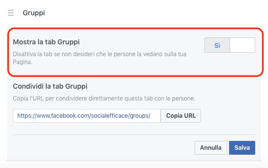 collegare gurppo pagina - mostra tab gruppi