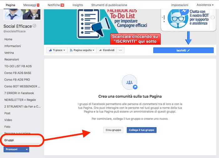 collegare gurppo pagina - nuova tab gruppi